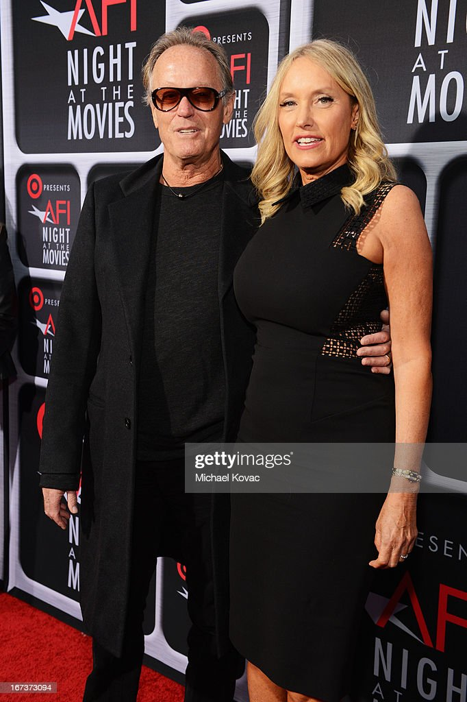 Actor Peter Fonda and Parky Fonda arrive on the red carpet for Target Presents AFI's Night at the Movies at ArcLight Cinemas on April 24, 2013 in Hollywood, California.