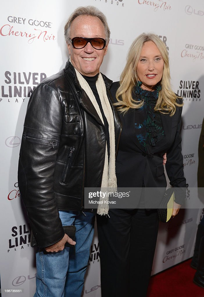 Actor <a gi-track='captionPersonalityLinkClicked' href=/galleries/search?phrase=Peter+Fonda&family=editorial&specificpeople=213498 ng-click='$event.stopPropagation()'>Peter Fonda</a> and Parky Fonda attend a special screening of 'Silver Linings Playbook' presented by The Weinstein Company sponsored by Grey Goose and Lexus at AMPAS Samuel Goldwyn Theater on November 19, 2012 in Beverly Hills, California.