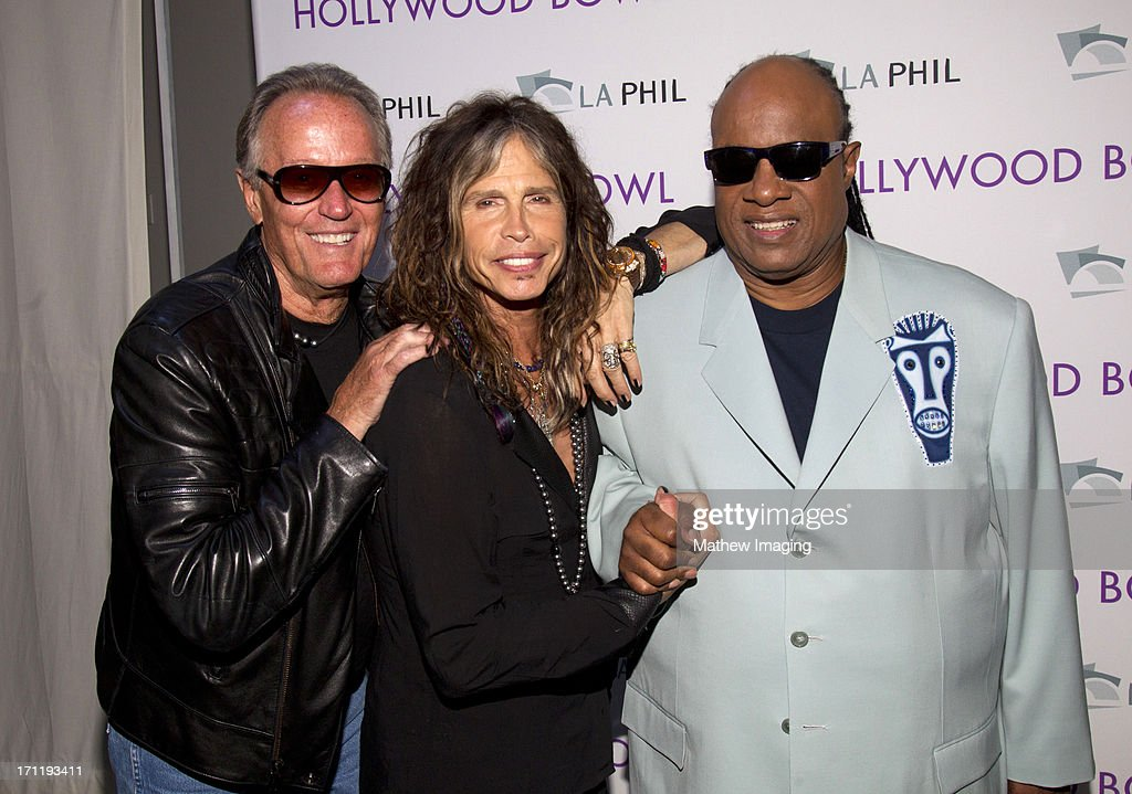 Actor Peter Fonda and recording artists Steven Tyler and Stevie Wonder attend Hollywood Bowl Opening Night Gala - Inside at The Hollywood Bowl on June 22, 2013 in Los Angeles, California.