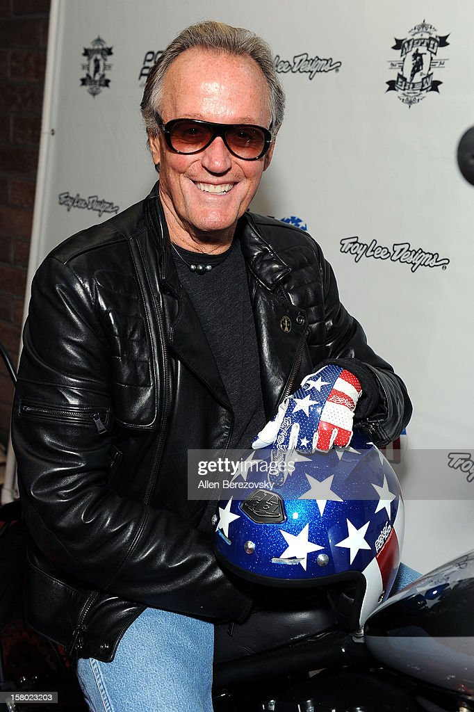 Actor <a gi-track='captionPersonalityLinkClicked' href=/galleries/search?phrase=Peter+Fonda&family=editorial&specificpeople=213498 ng-click='$event.stopPropagation()'>Peter Fonda</a> attends the launch of his new men's fashion line and protective riding gear collection for Troy Lee Designs at Troy Lee Boutique & Design Center on December 8, 2012 in Laguna Beach, California.