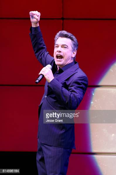 Actor Peter Gallagher performs onstage during the 24th and final 'A Night at Sardi's' to benefit the Alzheimer's Association at The Beverly Hilton...