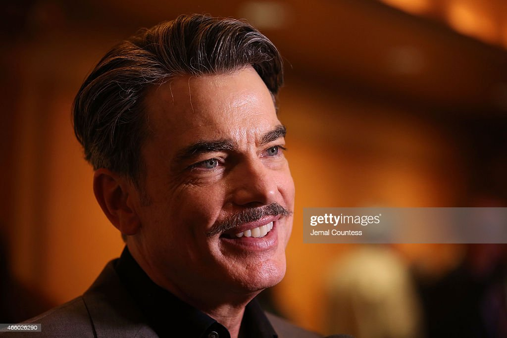 Actor Peter Gallagher speaks to the media at the opening night performance of 'On The Twentieth Century' at American Airlines Theatre on March 12...