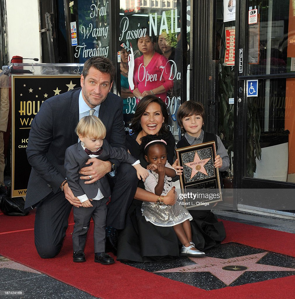 Actor Peter Hermann, son Andrew, daughter Amaya, actress <a gi-track='captionPersonalityLinkClicked' href=/galleries/search?phrase=Mariska+Hargitay&family=editorial&specificpeople=204727 ng-click='$event.stopPropagation()'>Mariska Hargitay</a> and son August attend <a gi-track='captionPersonalityLinkClicked' href=/galleries/search?phrase=Mariska+Hargitay&family=editorial&specificpeople=204727 ng-click='$event.stopPropagation()'>Mariska Hargitay</a>'s Star ceremony on The Hollywood Walk of Fame held on November 8, 2013 in Hollywood, California.