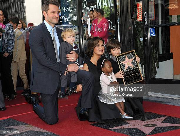 Actor Peter Hermann son Andrew daughter Amaya actress Mariska Hargitay and son August attend Mariska Hargitay's Star ceremony on The Hollywood Walk...