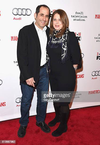 Actor Peter Jacobson and Whitney Scott attend 'The Americans' Season 4 premiere at NYU Skirball Center on March 5 2016 in New York City
