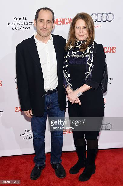 Actor Peter Jacobson and Whitney Scott attend the 'The Americans' season 4 premiere on March 5 2016 in New York City