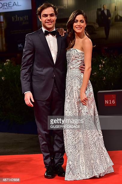 Actor Peter Lanzani arrives with girlfriend Martina Stoessel for the screening of the movie 'El Clan' presented in competition at the 72nd Venice...
