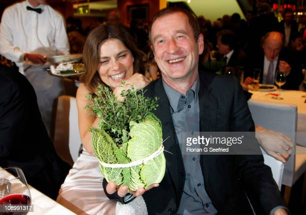 Actor Peter Lohmeyer and wife Sarah Wiener attend the Opening Party after the 'True Grit' premiere during the opening day of the 61th Berlin...