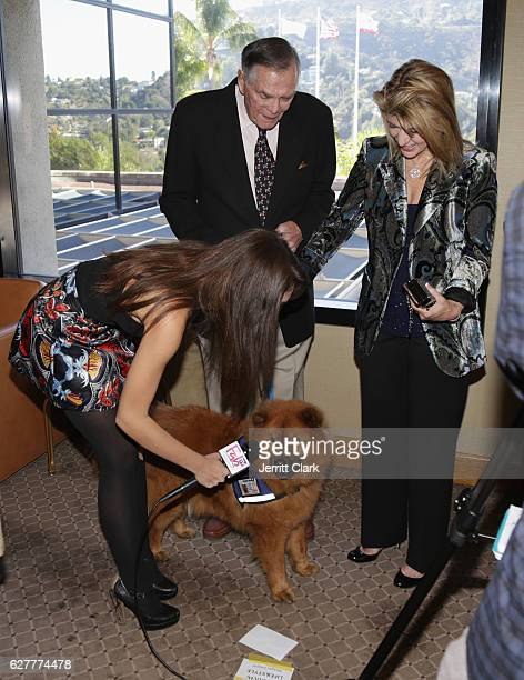 Actor Peter Marshall and Laurie Marshall and their service dog Teddy Bear attend the Actors And Others For Animals' Joy To The Animals Luncheon at...