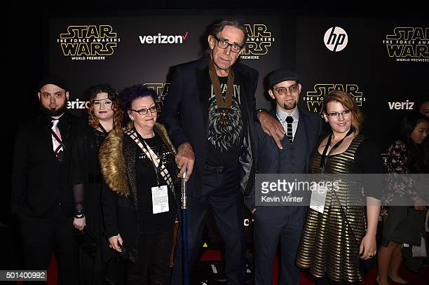 Actor Peter Mayhew and family attend the World Premiere of 'Star Wars The Force Awakens' at the Dolby El Capitan and TCL Theatres on December 14 2015...
