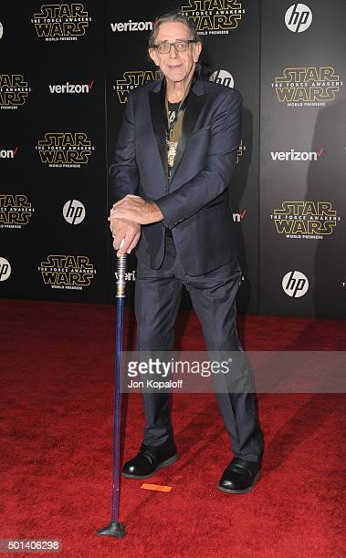 Actor Peter Mayhew arrives at the Los Angeles Premiere 'Star Wars The Force Awakens' on December 14 2015 in Hollywood California