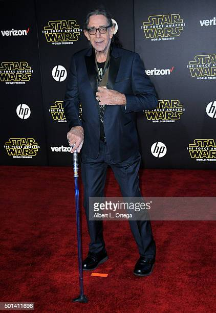 Actor Peter Mayhew arrives for the Premiere Of Walt Disney Pictures And Lucasfilm's 'Star Wars The Force Awakens' held on December 14 2015 in...