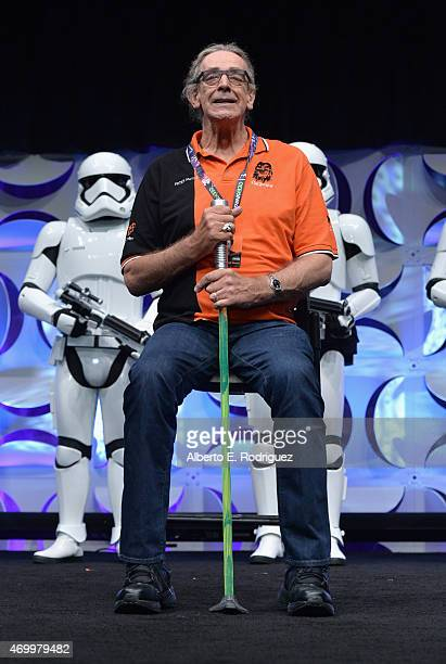 Actor Peter Mayhew speaks onstage during Star Wars Celebration 2015 on April 16 2015 in Anaheim California
