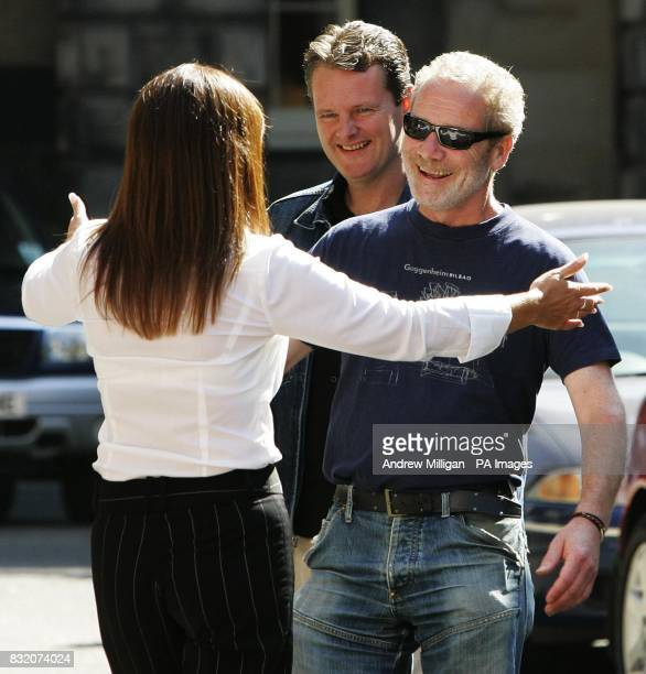 Actor Peter Mullan greets Gail Sheridan the wife of Tommy Sheridan at the Court of Session in Edinburgh where he is lending his support to the...