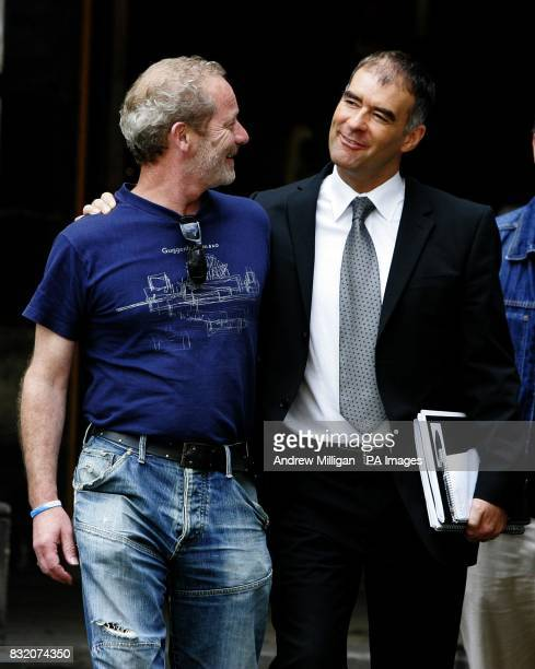 Actor Peter Mullan lends his support to his schoolfriend the former Scottish Socialist leader Tommy Sheridan outside the Court of Session in...