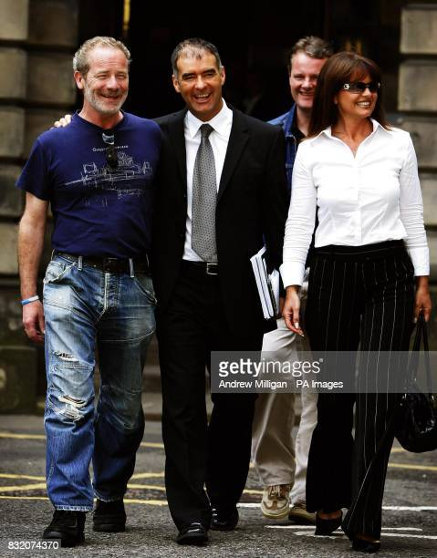 Actor Peter Mullan lends his support to his schoolfriend the former Scottish Socialist leader Tommy Sheridan and Sheridan's wife Gail outside the...