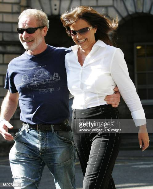 Actor Peter Mullan with Gail Sheridan the wife of Tommy Sheridan at the Court of Session in Edinburgh where he is lending his support to the Sheridan...