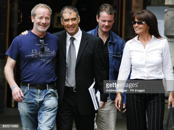Actor Peter Mullan with Tommy Sheridan and his wife Gail at the Court of Session in Edinburgh where he is lending his support to the former Scottish...