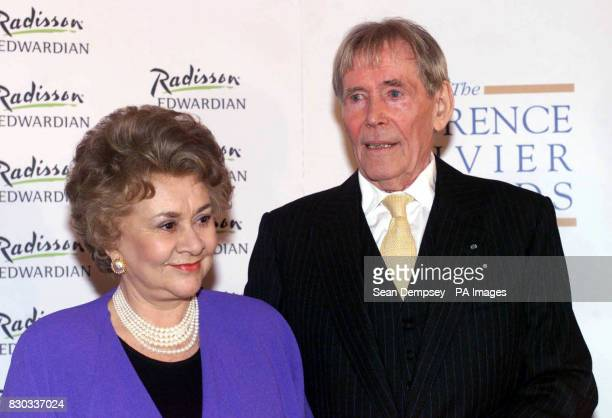 Actor Peter O'Toole after receiving an Outstanding Achievement Award from Lady Olivier Joan Plowright during the Laurence Olivier Awards 2000 at the...