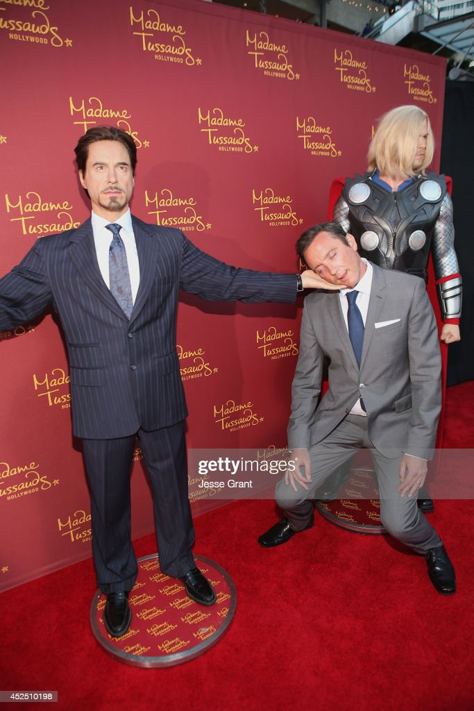 Actor Peter Serafinowicz poses alongside a Madame Tussauds Hollywood MARVEL wax figure during the 'Guardians of The Galaxy' premiere at the Dolby Theatre on July 21, 2014 in Hollywood, California.