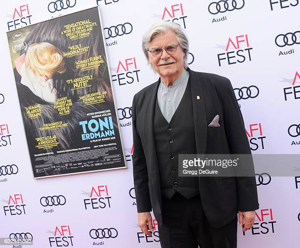 Actor Peter Simonischek arrives at the AFI FEST 2016 Presented By Audi Screening Of Sony Pictures Classic's 'Toni Erdmann' at the Egyptian Theatre on...