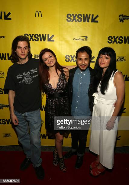 Actor Peter Vack actor/writer Leah McKendrick actor David Huynh director Natalia Leite attend the premiere of 'MFA' during 2017 SXSW Conference and...