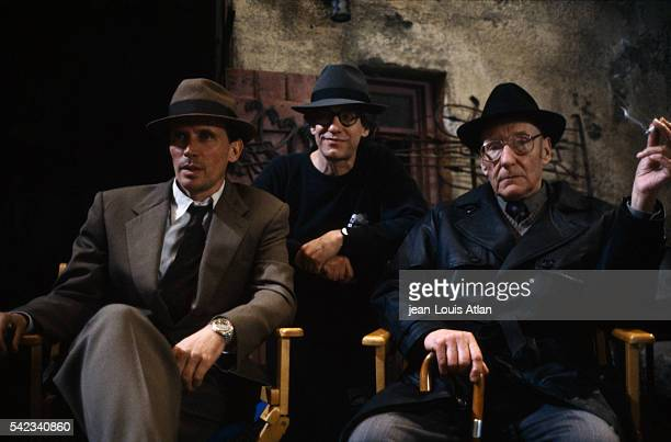 Actor Peter Weller and American author William Burroughs appear on the set of Canadian director David Cronenberg's movie The Naked Lunch loosely...
