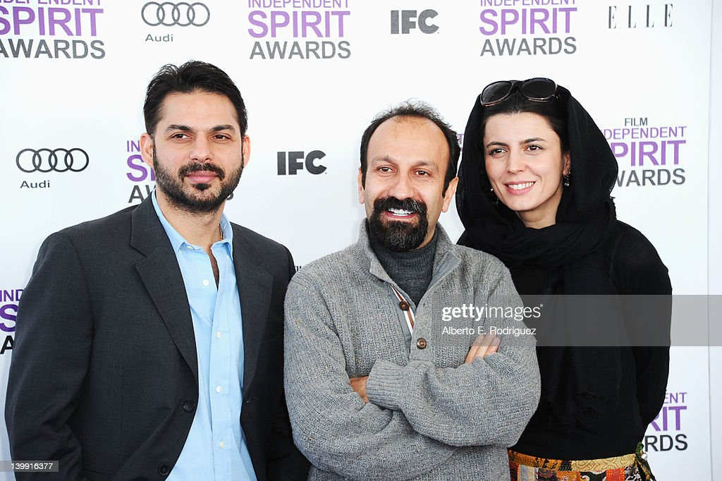 Actor Peyman Maadi, director <a gi-track='captionPersonalityLinkClicked' href=/galleries/search?phrase=Asghar+Farhadi&family=editorial&specificpeople=5700577 ng-click='$event.stopPropagation()'>Asghar Farhadi</a> and actress <a gi-track='captionPersonalityLinkClicked' href=/galleries/search?phrase=Leila+Hatami&family=editorial&specificpeople=7082232 ng-click='$event.stopPropagation()'>Leila Hatami</a> arrive at the 2012 Film Independent Spirit Awards on February 25, 2012 in Santa Monica, California.