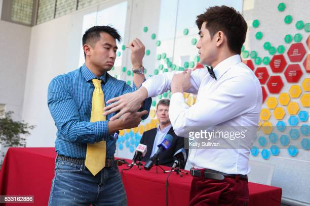 Actor Philip Ng demonstrates martial arts with one of his students during a special press conference of BH Tilt WWE Studios' 'Birth of the Dragon' at...
