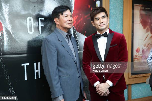 Actor Philip Ng poses for a photo with martial artist Wong Jack Man at a special screening of BH Tilt WWE Studios' 'Birth of the Dragon' at the AMC...