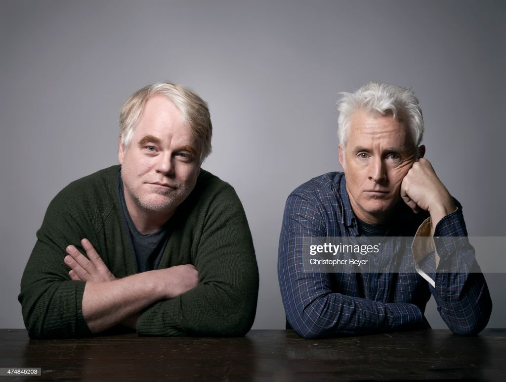 Actor <a gi-track='captionPersonalityLinkClicked' href=/galleries/search?phrase=Philip+Seymour+Hoffman&family=editorial&specificpeople=212791 ng-click='$event.stopPropagation()'>Philip Seymour Hoffman</a> and actor/director <a gi-track='captionPersonalityLinkClicked' href=/galleries/search?phrase=John+Slattery&family=editorial&specificpeople=857095 ng-click='$event.stopPropagation()'>John Slattery</a> are photographed for Entertainment Weekly Magazine on January 25, 2014 in Park City, Utah.