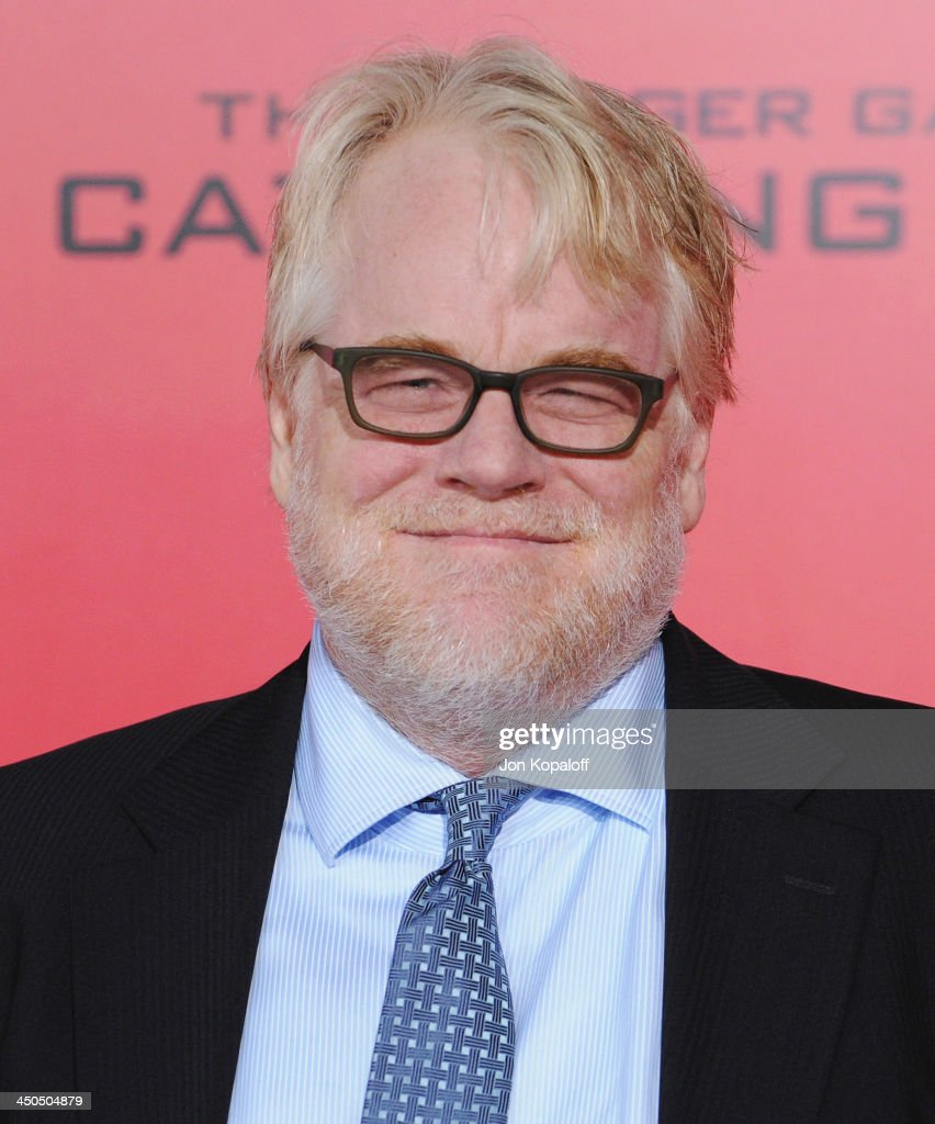 Actor Philip Seymour Hoffman arrives at the Los Angeles Premiere 'The Hunger Games Catching Fire' at Nokia Theatre LA Live on November 18 2013 in Los...