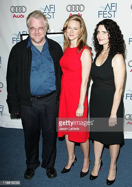 Actor Philip SeymourHoffman actress Laura Linney and director Tamara Jenkins attend the premiere of 'The Savages' at the Arclight Theater on November...