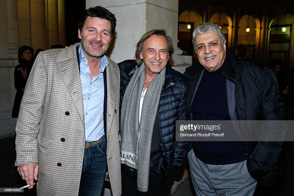 Actor Philippe Lellouche, director Alexandre Arcady and singer <a gi-track='captionPersonalityLinkClicked' href=/galleries/search?phrase=Enrico+Macias&family=editorial&specificpeople=2057443 ng-click='$event.stopPropagation()'>Enrico Macias</a> attend the 'Ma Vie Revee' : Michel Boujenah One Man Show at Theatre Edouard VII on November 24, 2014 in Paris, France.