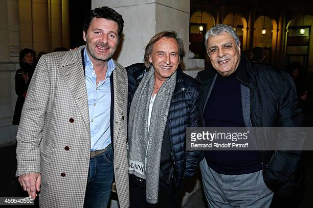 Actor Philippe Lellouche director Alexandre Arcady and singer Enrico Macias attend the 'Ma Vie Revee' Michel Boujenah One Man Show at Theatre Edouard...