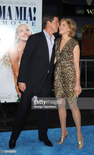 Actor Pierce Brosnan and actress Christine Baranski attend the premiere of 'Mamma Mia' at the Ziegfeld Theatre on July 16 2008 in New York City