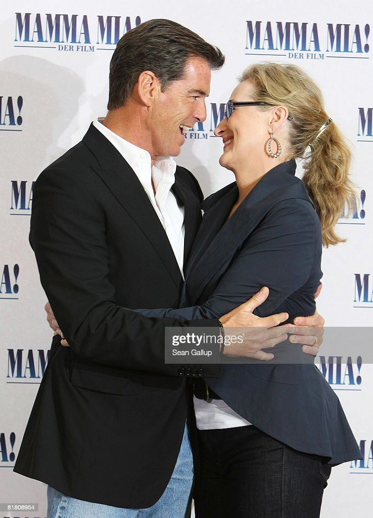 Actor Pierce Brosnan and actress Meryl Streep attend the photocall for 'Mamma Mia! The Movie' at the Adlon Hotel on July 3, 2008 in Berlin, Germany.