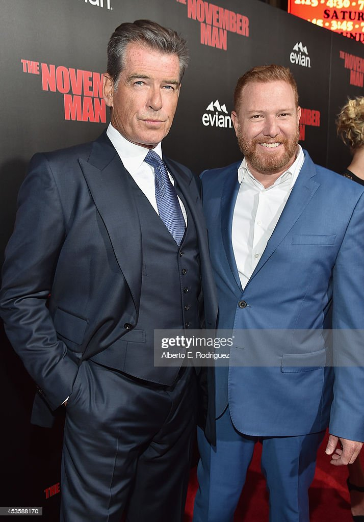 Actor Pierce Brosnan and CEO of Relativity Media Ryan Kavanaugh arrive to the World Premiere of Relativity Media's 'The November Man' at the TCL...