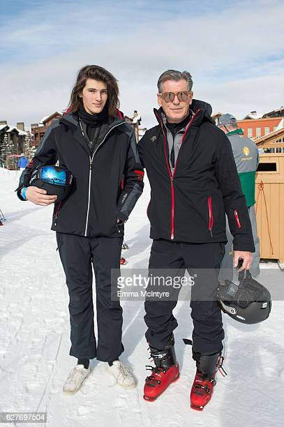Actor Pierce Brosnan and Dylan Brosnan attend day three of the 2016 Deer Valley Celebrity Skifest on December 4 2016 in Park City Utah