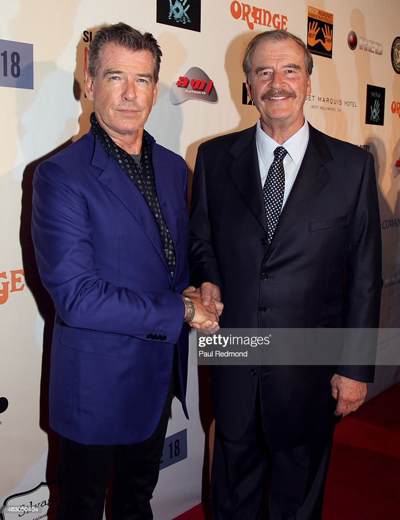Actor <a gi-track='captionPersonalityLinkClicked' href=/galleries/search?phrase=Pierce+Brosnan&family=editorial&specificpeople=194774 ng-click='$event.stopPropagation()'>Pierce Brosnan</a> and former President of Mexico <a gi-track='captionPersonalityLinkClicked' href=/galleries/search?phrase=Vicente+Fox&family=editorial&specificpeople=202615 ng-click='$event.stopPropagation()'>Vicente Fox</a> attends the Sunset Marquis Hotel and Rock Against Trafficking GRAMMY After Party at Exchange LA on February 8, 2015 in Los Angeles, California.