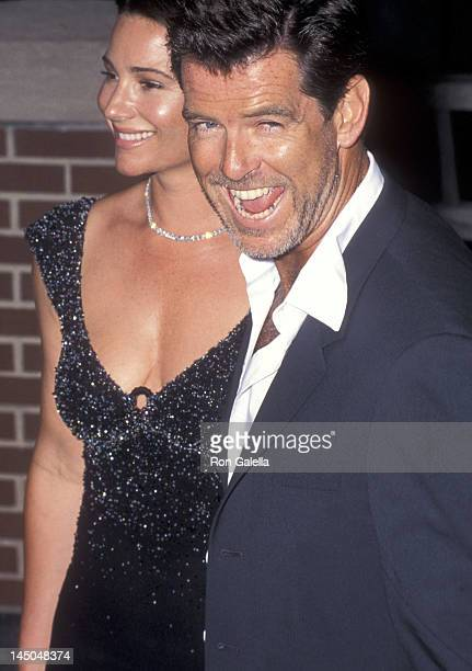 Actor Pierce Brosnan and girlfriend Keely Shaye Smith attend the Talk Magazine Launch Party on August 2 1999 at Liberty Island in New York City