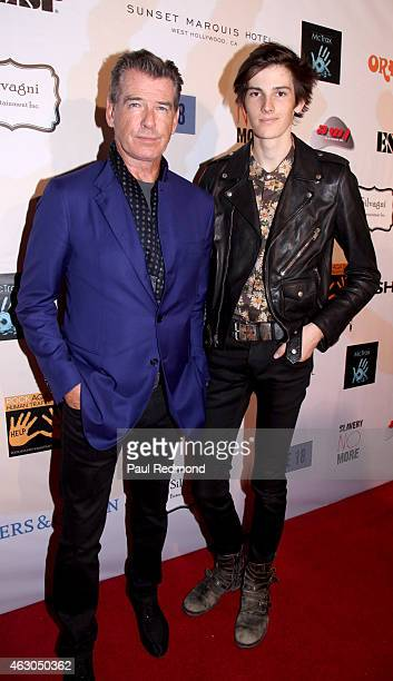 Actor Pierce Brosnan and his son Dylan Thomas Brosnan attend the Sunset Marquis Hotel and Rock Against Trafficking GRAMMY After Party at Exchange LA...