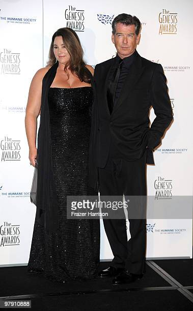 Actor Pierce Brosnan and Keely Shay Smith pose in the press room at the 24th Genesis Awards held at the Beverly Hilton Hotel on March 20 2010 in...