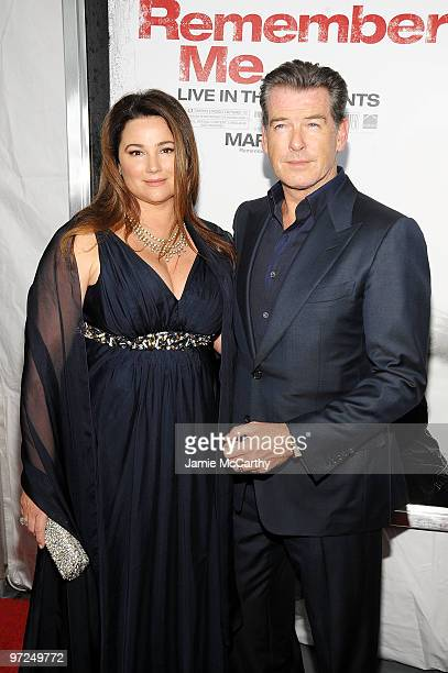 Actor Pierce Brosnan and Keely Shaye Smith attend the premiere of 'Remember Me' at the Paris Theatre on March 1 2010 in New York City