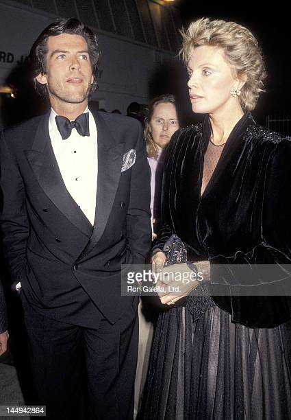Actor Pierce Brosnan and wife Cassandra Harris attend the 11th Annual People's Choice Awards After Party on March 14 1985 at Ma Maison Restaurant in...