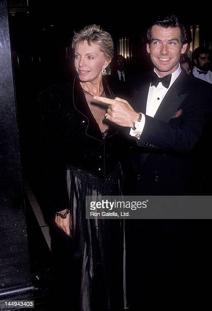 Actor Pierce Brosnan and wife Cassandra Harris attend the '3 Penny Opera' Broadway Musical Opening Night Performance on November 5 1989 at the...