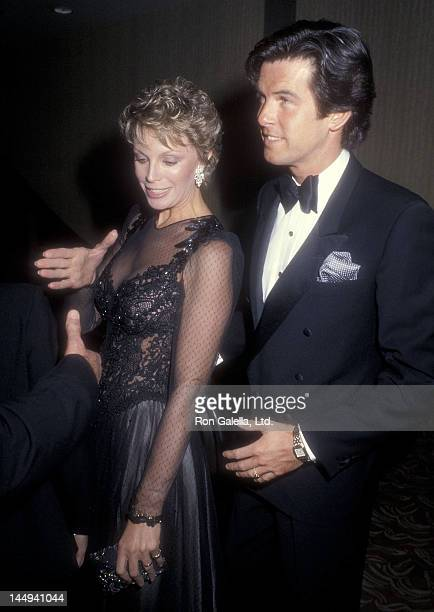 Actor Pierce Brosnan and wife Cassandra Harris attend the 'Cats' Opening Night Musical Performance on January 11 1985 at the Shubert Theatre in...