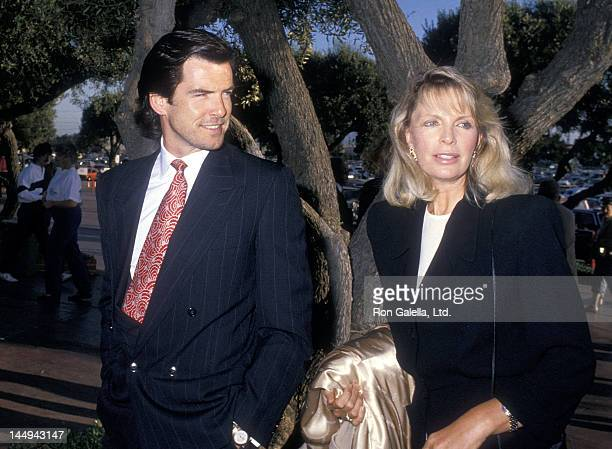 Actor Pierce Brosnan and wife Cassandra Harris attend the Hollywood Park's 50th Anniversary Celebration on June 10 1988 at Hollywood Park Racetrack...
