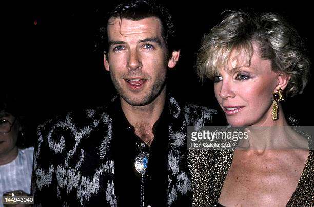 Actor Pierce Brosnan and wife Cassandra Harris attend the 'Nomads' Premiere Party on March 6 1986 at the Limelight in New York City