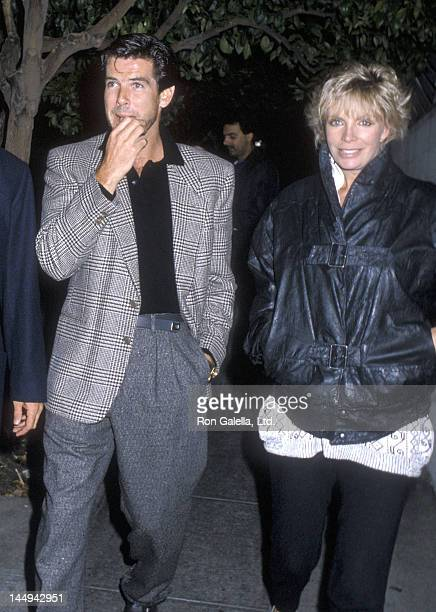 Actor Pierce Brosnan and wife Cassandra Harris on September 25 1986 dine at Spago in West Hollywood California